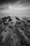 Black and white landscape looking out to sea with rocky shore an
