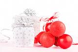 Present and christmas balls.