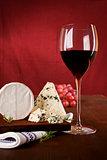 Dark red wine background.