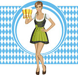 Vector Cute Woman In Drindl On Oktoberfest