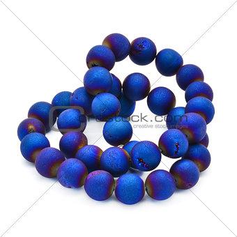 Blue agate druzy beads