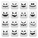 Scary Halloween pumpkin faces buttons set