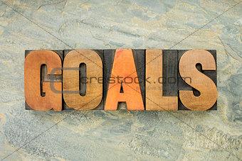 goals word in wood type