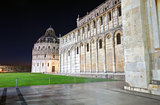 Pisa, Piazza del Duomo with Battistero, Basilica and the leaning