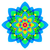 mandala flower, rainbow colors in circles