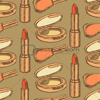 Sketch beauty equipment in vintage style