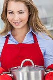 Young Blond Woman Girl Cooking Kitchen