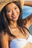 Asian Woman Girl Bikini Cowboy Hat At Beach