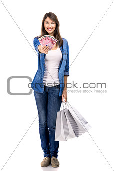 Beauitful woman holding shopping bags