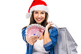 Beauitful Santa woman holding shopping bags