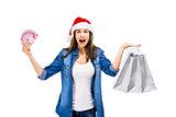 Beauitful Santa woman holding shopping bags