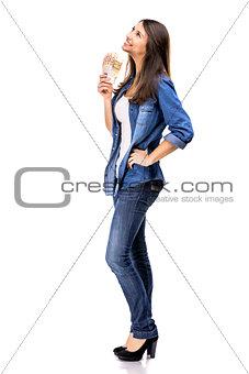 Beauitful woman holding money