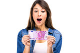 Beauitful woman holding money