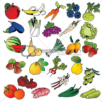 Freehand drawing fruits and vegetables icon set
