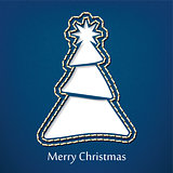 Vector christmas postcard design with denim jeans background