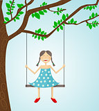 Little girl swinging