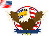 Cute cartoon American bald eagle