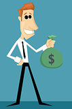 Cartoon office worker with bag of money