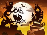Theme with Halloween silhouette 1