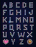 Diamond rhinestones light pixel alphabet