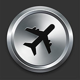 Airplane Icon on Metallic Button Collection