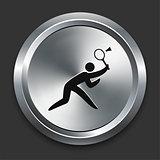 Badminton Icons on Metallic Button Collection