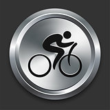 Bike Man Icon on Metallic Button Collection