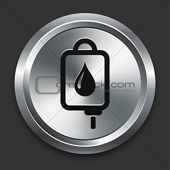 Blood Drip Icon on Metallic Button Collection