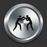 Boxing Icon on Metallic Button Collection