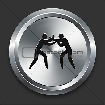 Boxing Icon on Metallic Button Collection
