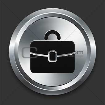 Brief Case Icon on Metallic Button Collection