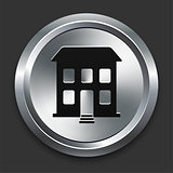 Building Icon on Metallic Button Collection