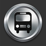 Bus Icon on Metallic Button Collection
