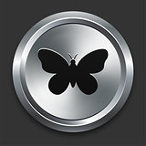 Butterfly Icon on Metallic Button Collection
