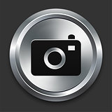 Camera Icon on Metallic Button Collection