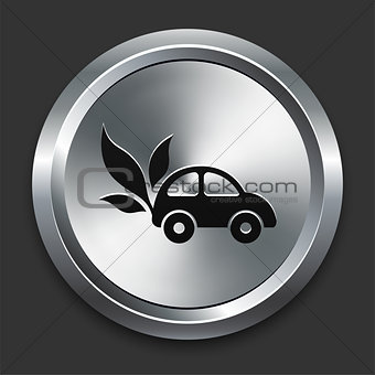 Car Icon on Metallic Button Collection
