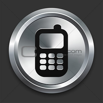 Cellphone Icon on Metallic Button Collection