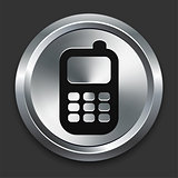 Cellphone Icon on Metallic Button Collection