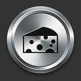 Cheese Icon on Metallic Button Collection