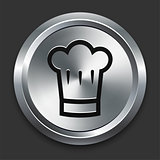 Chef Hat Icon on Metallic Button Collection