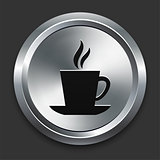 Coffee Icon on Metallic Button Collection