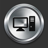Computer Icon on Metallic Button Collection