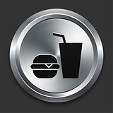 Fast Food Icon on Metallic Button Collection