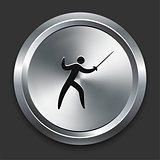 Fencing Icon on Metallic Button Collection