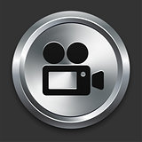 Film Camera Icon on Metallic Button Collection