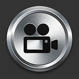 Film Camera Icon on Metallic Button Collection