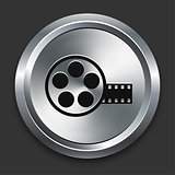 Film Reel Icon on Metallic Button Collection
