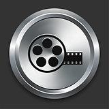 Film Reel Icon on Metallic Button Collection