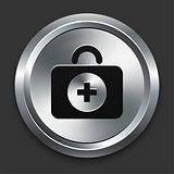 First Aid Icon on Metallic Button Collection