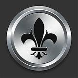 Fleur De Lis Icon on Metallic Button Collection
